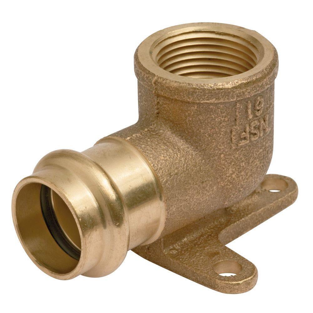 1/2 in. Brass 90-Degree Press x FPT Pressure Female Threa...