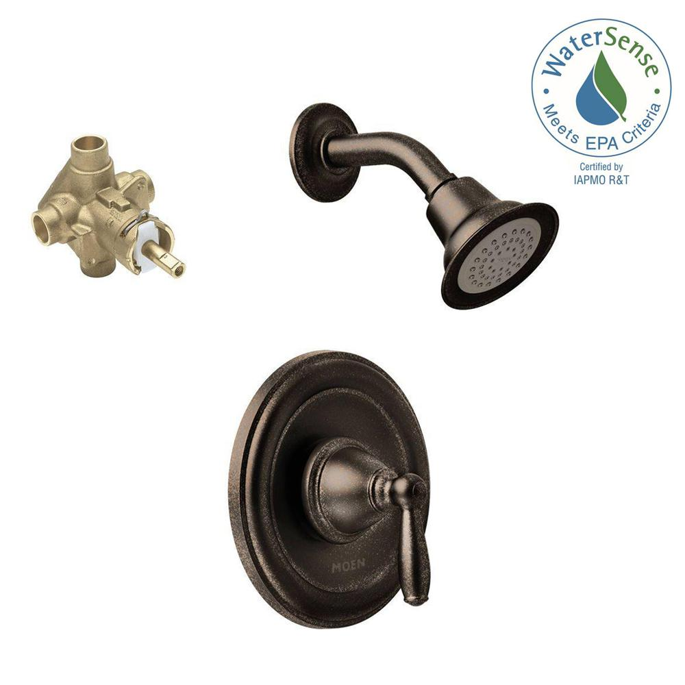 MOEN Brantford Single-Handle 1-Spray Posi-Temp Shower Faucet Trim Kit with Valve in Oil Rubbed Bronze (Valve Included)