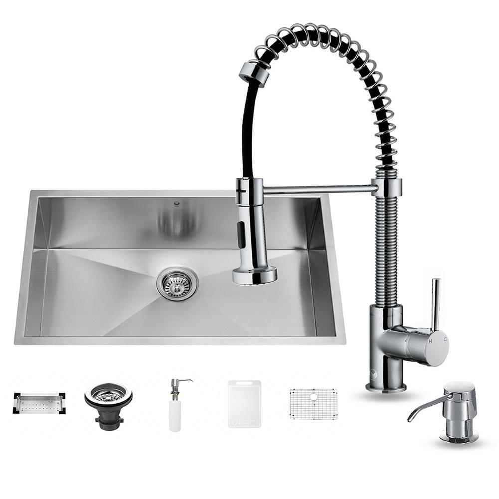 VIGO All-in-One Undermount Stainless Steel 32 in. 0-Hole Single Bowl Kitchen Sink and Faucet Set in Chrome