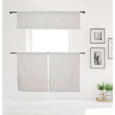 Medici Kitchen Valance in Tiers/Taupe - 15 in. W x 58 in. L (3-Piece)