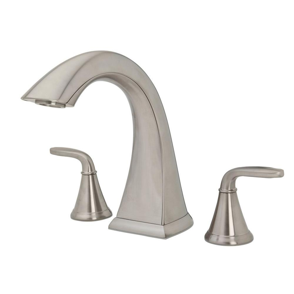 Pfister Pasadena 2 Handle High Arc Deck Mount Roman Tub Faucet In Brushed  Nickel