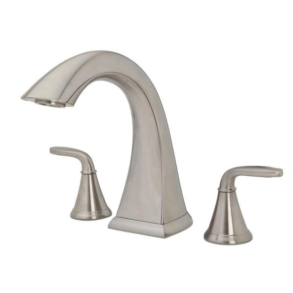 Pasadena 2-Handle High-Arc Deck Mount Roman Tub Faucet in Brushed Nickel
