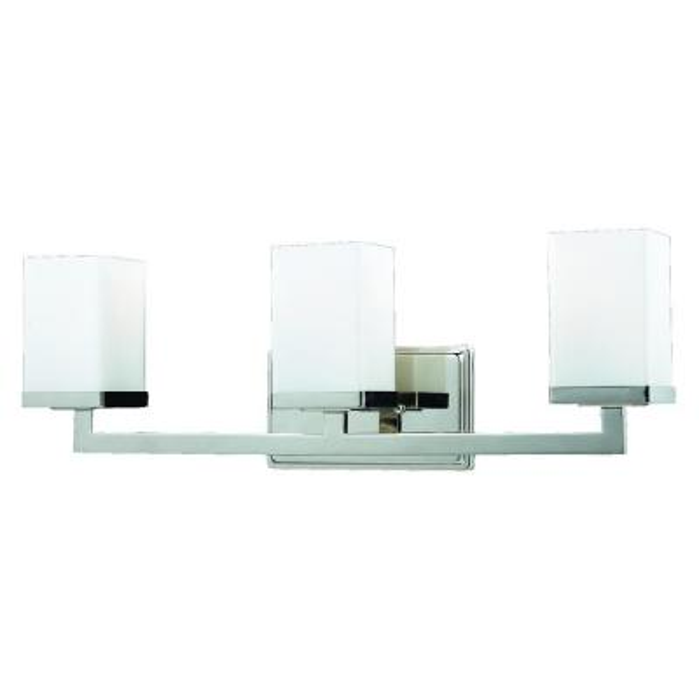 Phebe 3-Light Chrome Steel Modern Squared Bath Light with Matte Opal Glass Shades
