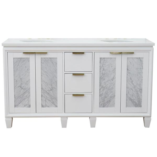 61 in. W x 22 in. D Double Bath Vanity in White with Quartz Vanity Top in White with White Oval Basins