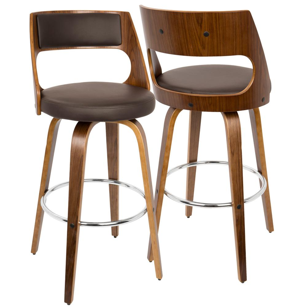 Lumisource Cecina Walnut And Brown Swivel Barstool Bs Jy