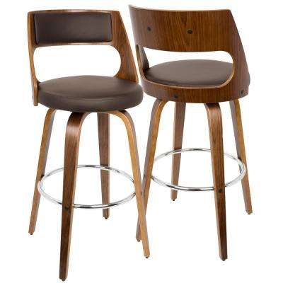 Cecina Walnut and Brown Swivel Barstool