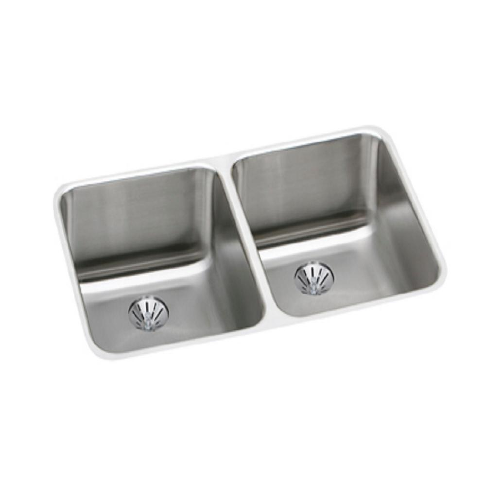 Exceptional Elkay Lustertone Undermount Stainless Steel 31 In. Double Bowl Kitchen Sink  Kit ELUH311810PD   The Home Depot