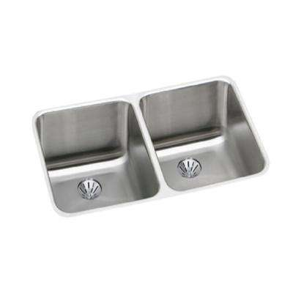 Lustertone Undermount Stainless Steel 31 in. Double Bowl Kitchen Sink Kit