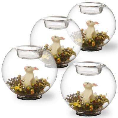 4 in. Round Glass Candle Holder with Rabbit and Mini Assorted Flowers (Set of 4)