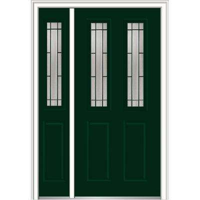 50 in. x 80 in. Solstice Glass Right-Hand 2-1/2-Lite 2-Panel Classic Painted Steel Prehung Front Door with Sidelite