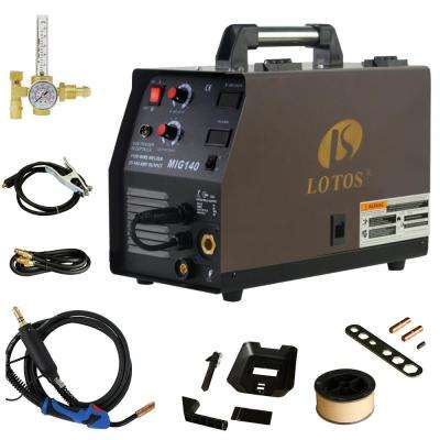140 Amp MIG Wire Feed Welder Flux Core Welder and Aluminum Welder UNG 5/8 in. Hose Fitting Regulator 2T/4T Switch 110V
