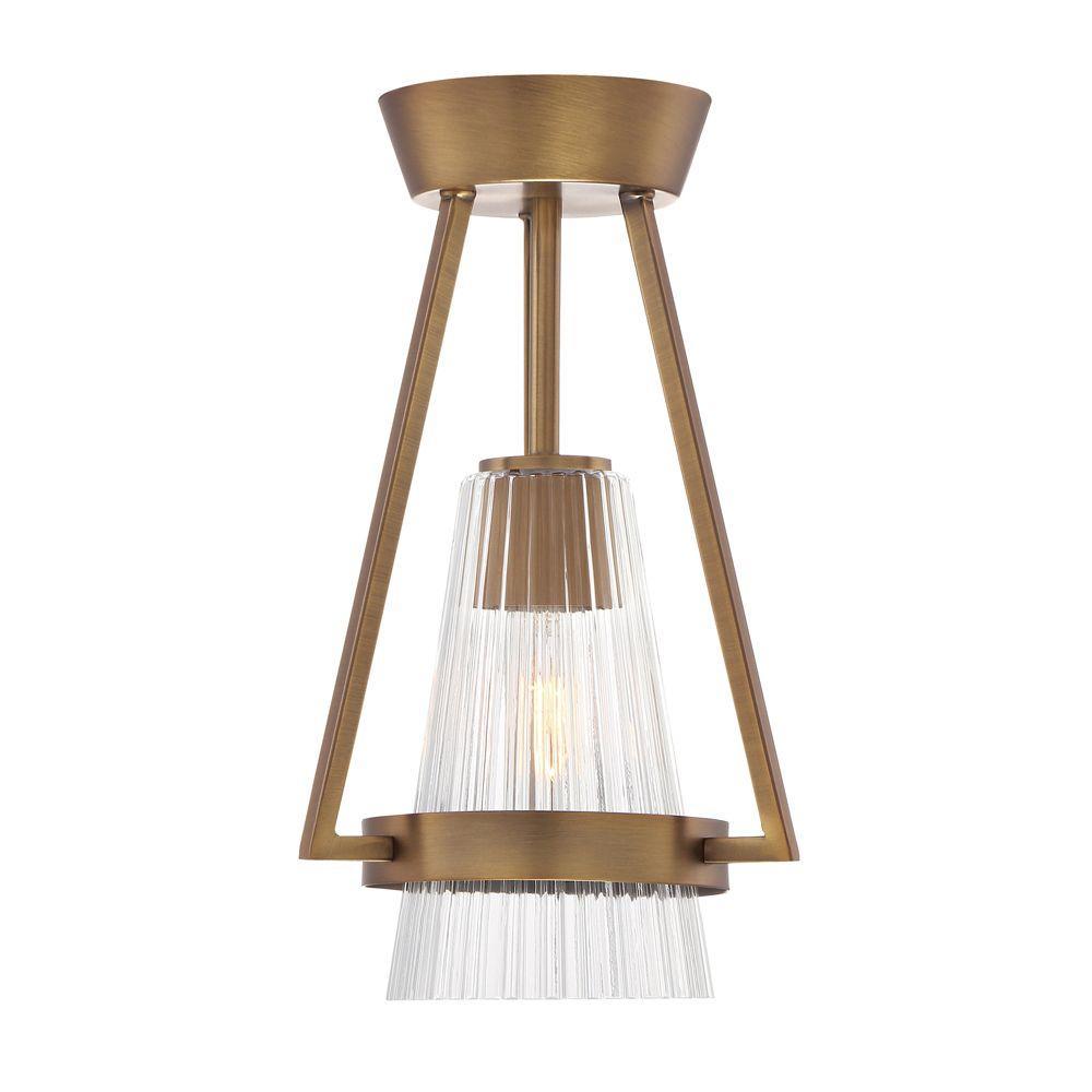 Montelena 1-Light Old Satin Brass Interior Semi Flush Mount