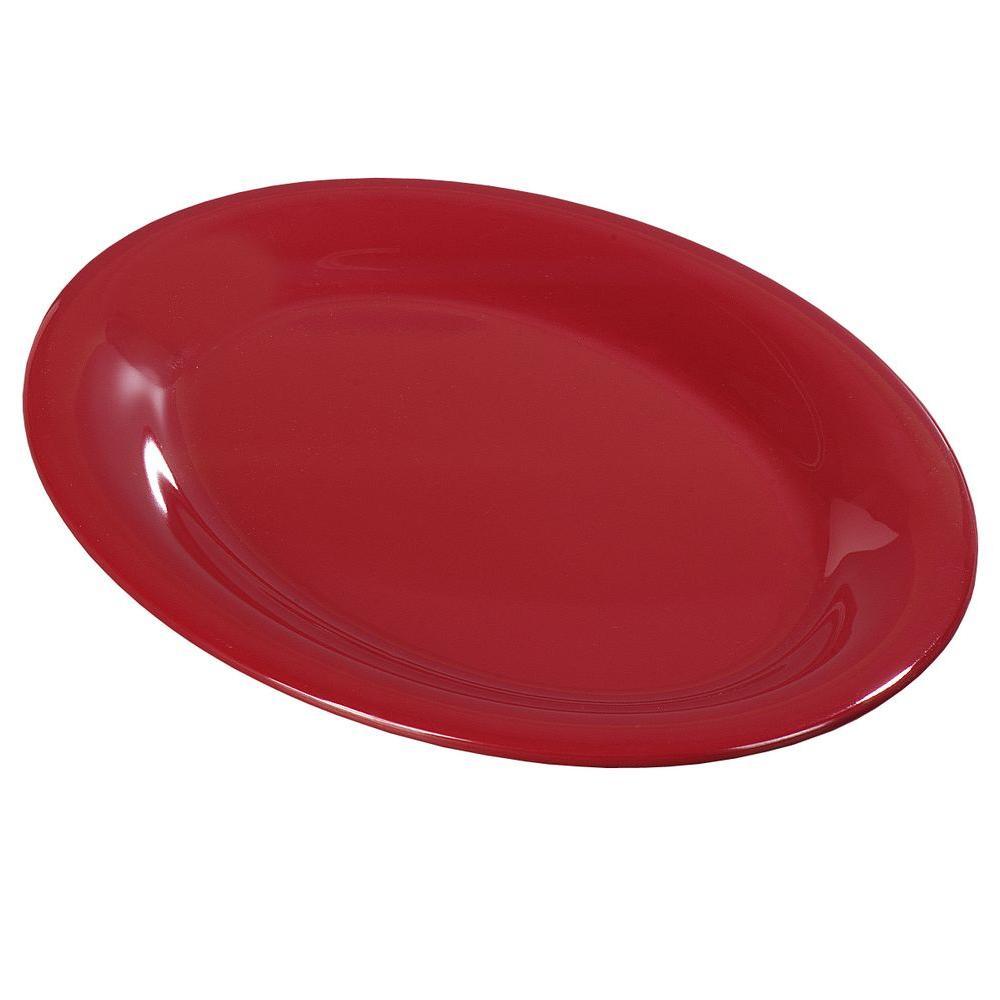 9 in. x 12 in. Melamine Oval Platter in Roma Red (Case of 12)