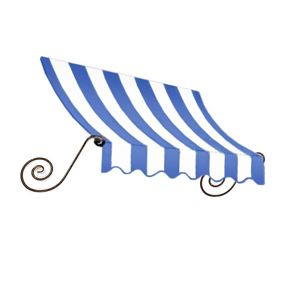 AWNTECH 7 ft. Charleston Window Awning (24 in. H x 12 in. D) in Bright Blue/White Stripe