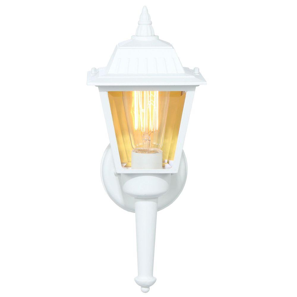 Hampton Bay 1-Light White Outdoor Wall Lantern