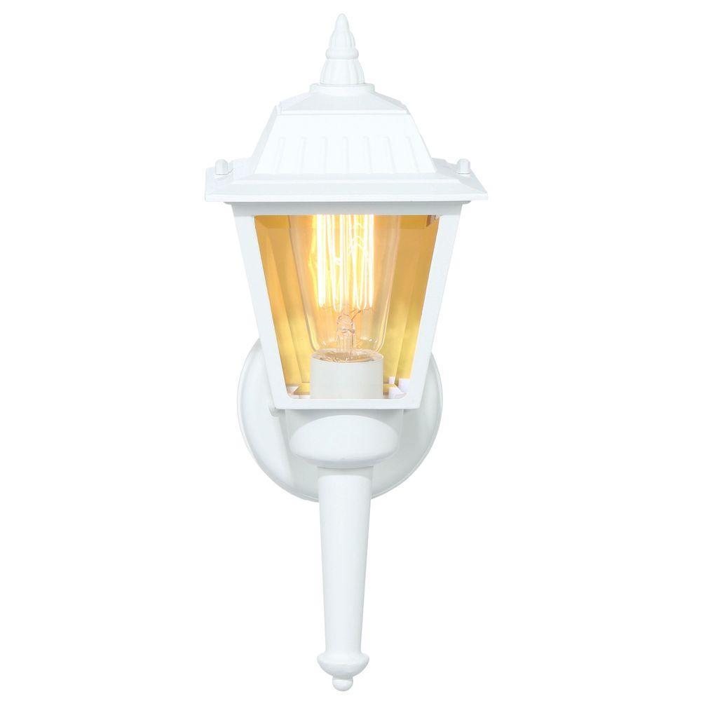 Hampton Bay 1-Light White Outdoor Wall Lantern