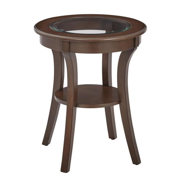 OSP Home Furnishings Harper Macchiato Wood Round Accent Table with Glass Top