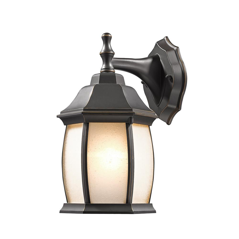 Remington 1-Light Oil Rubbed Bronze Outdoor Wall Lantern with Seedy White
