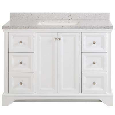 Stratfield 49 in. W x 22 in. D Bathroom Vanity in White with Solid Surface Vanity Top in Silver Ash with White Sink
