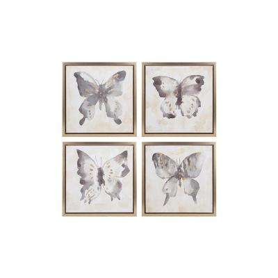 "16 in. x 16 in. ""Watercolor Butterflies"" 4-Piece Framed Wall Art"