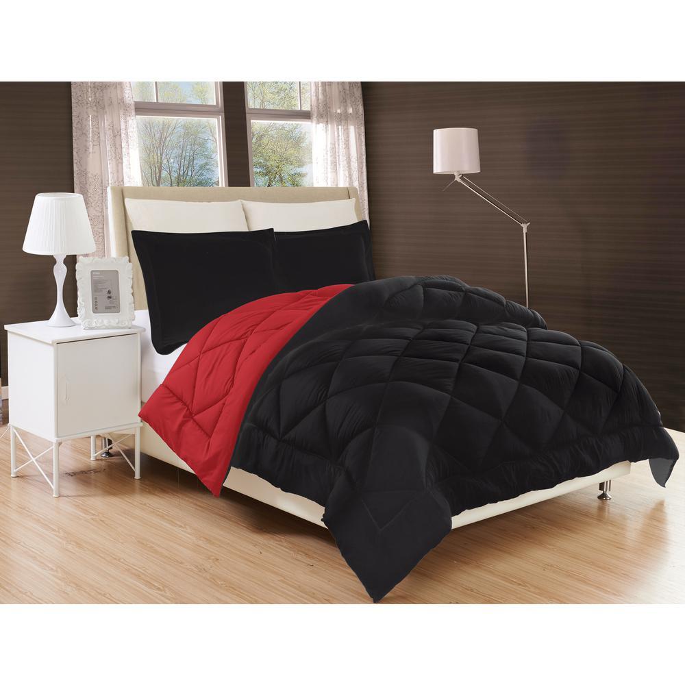 Down Alternative Black and Burgundy Reversible King Comforter Set