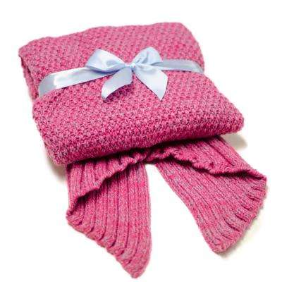 Mermaid Tail Pink Knit Crochet Sleeping Blanket