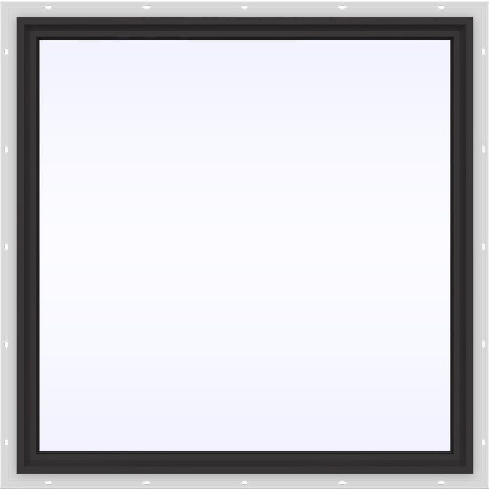 JELD-WEN 48 in. x 48 in. V-4500 Series Black FiniShield Vinyl Picture Window w/ Low-E 366 Glass