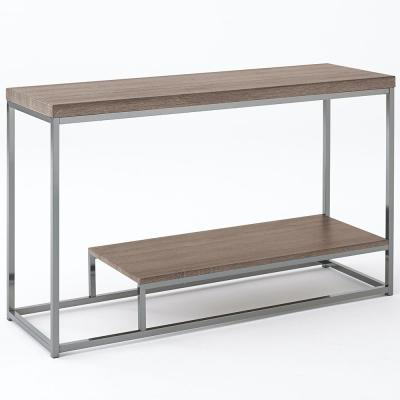 Lucia 47 in. Brown Rectangle Composite Console Table with Chrome Base