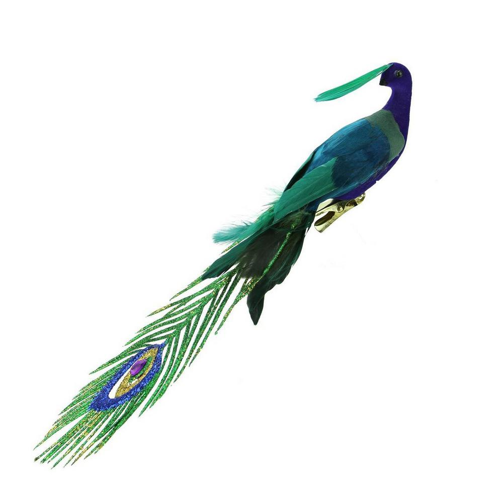 11 in. Teal Green and Royal Blue Peacock Bird Clip-On Christmas