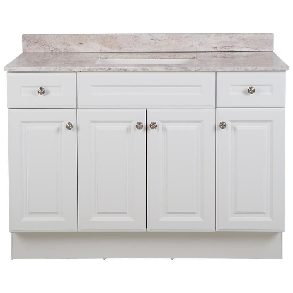Glacier Bay Glensford 49 in. W x 22 in. D Bathroom Vanity in White with Stone Effects Vanity Top in Winter Mist with White Sink
