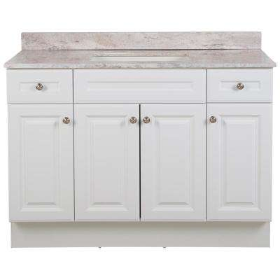 Glensford 49 in. W x 22 in. D Bathroom Vanity in White with Stone Effects Vanity Top in Winter Mist with White Sink