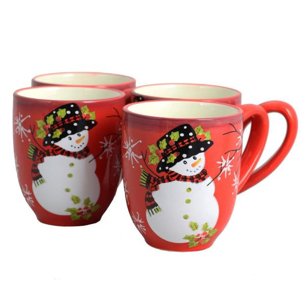 Laurie Gates Snappy Snowman 16 oz. Red Mug (Set of 4)