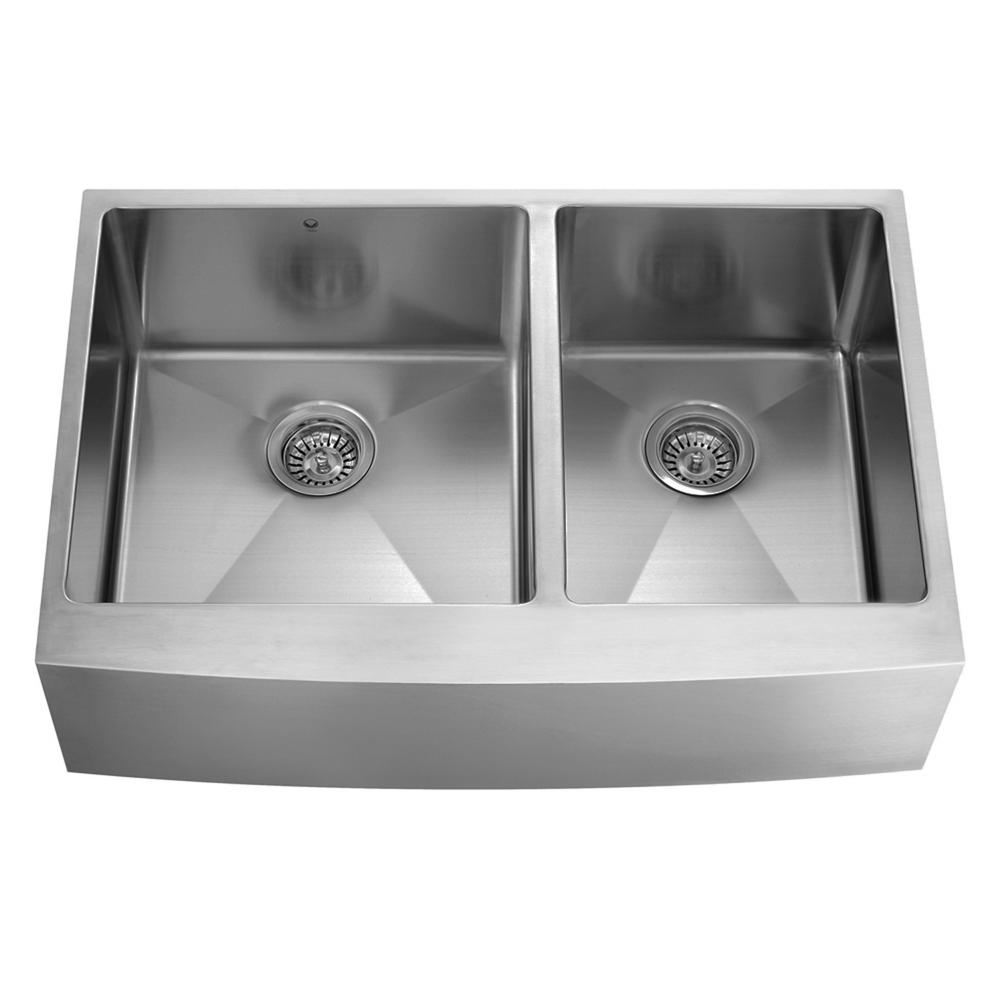 VIGO Farmhouse Apron Front Stainless Steel 36 in. Double Bowl Kitchen Sink in Stainless Steel