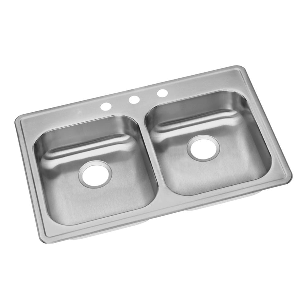 Elkay Dayton Drop In Stainless Steel 33 In. 3 Hole Double Bowl Kitchen