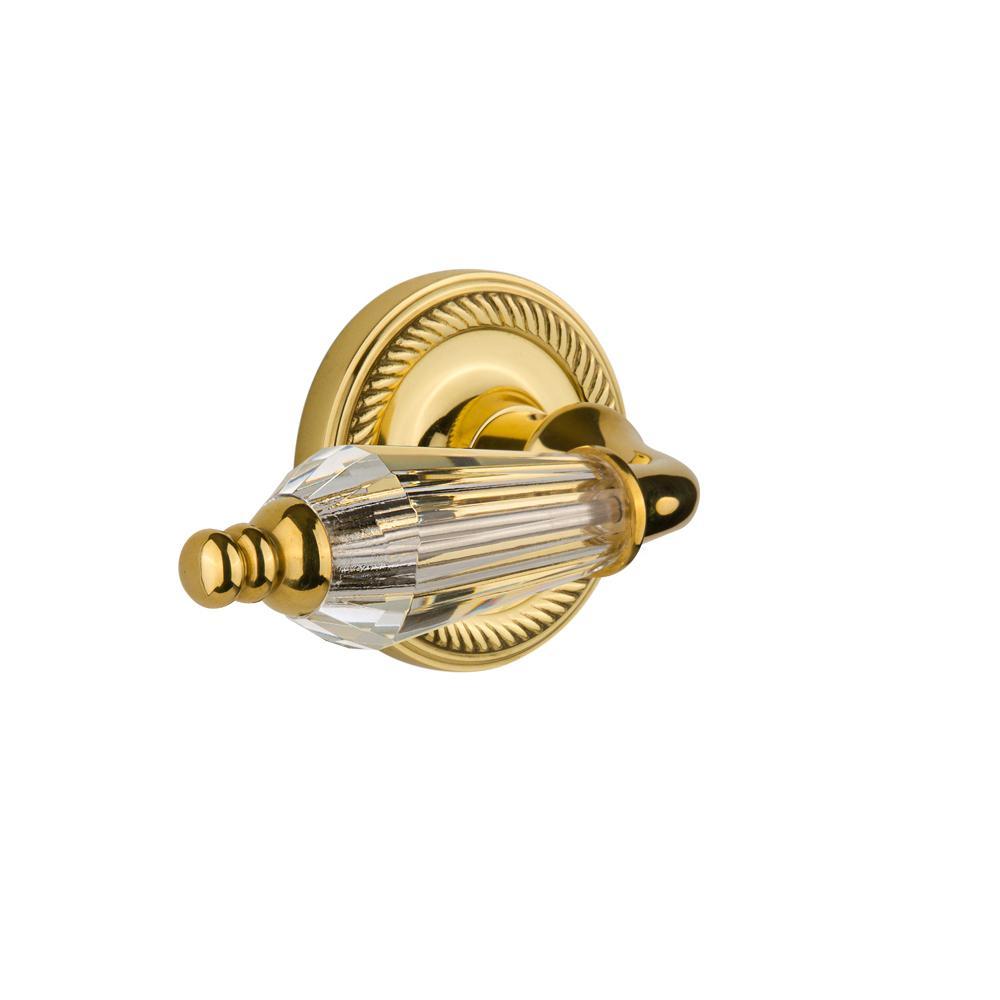 Rope Rosette 2-3/8 in. Backset Polished Brass Passage Hall/Closet Parlor Lever