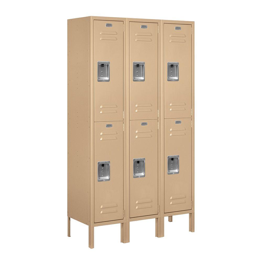 62000 Series 36 in. W x 66 in. H x 12 in. D 2-Tier Metal Locker Assembled in Tan