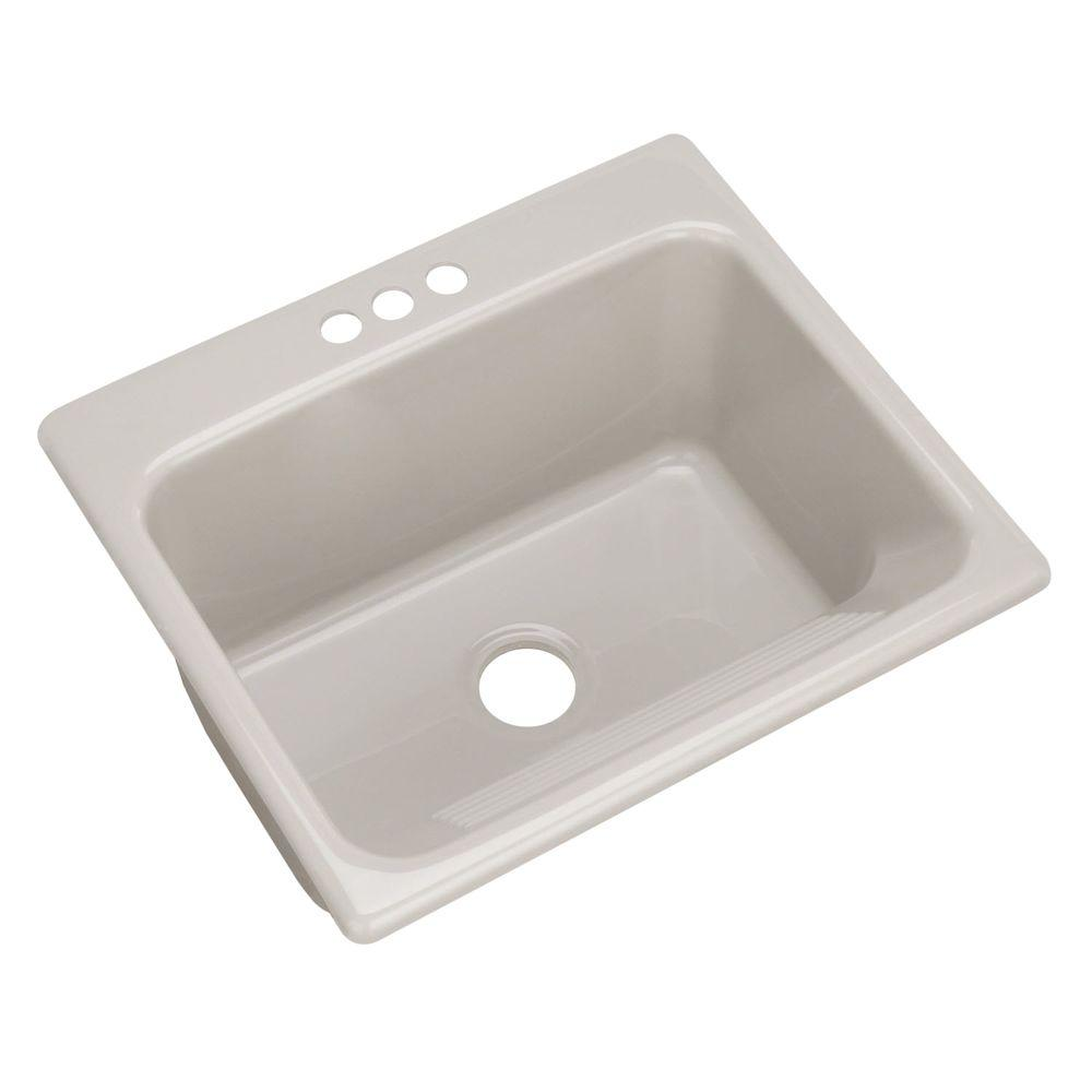 Thermocast Kensington Drop-In Acrylic 25 in. 3-Hole Single Bowl Utility Sink in Tender Grey