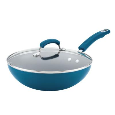 Marine Blue Gradient Hard Enamel 11 in. Classic Brights Aluminum Nonstick Stir Fry Pan with Glass Lid