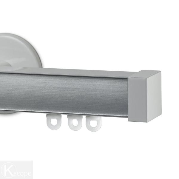 Nexgen 60 in. Non-Adjustable Single Traverse Window Curtain Rod Set with White Endcap in Brushed Aluminum Applique