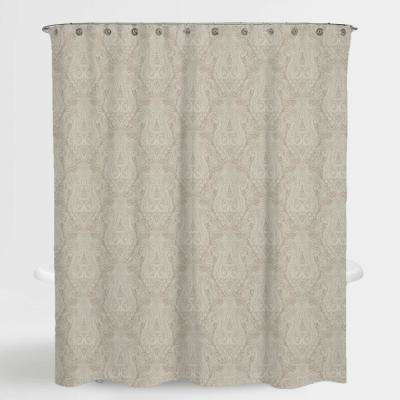 72 in. x 72 in. Paisley Beige Hailey Water Repellent Shower