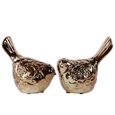 6.5 in. H Bird Decorative Figurine in Brown Polished Chrome Finish (Set of 2)