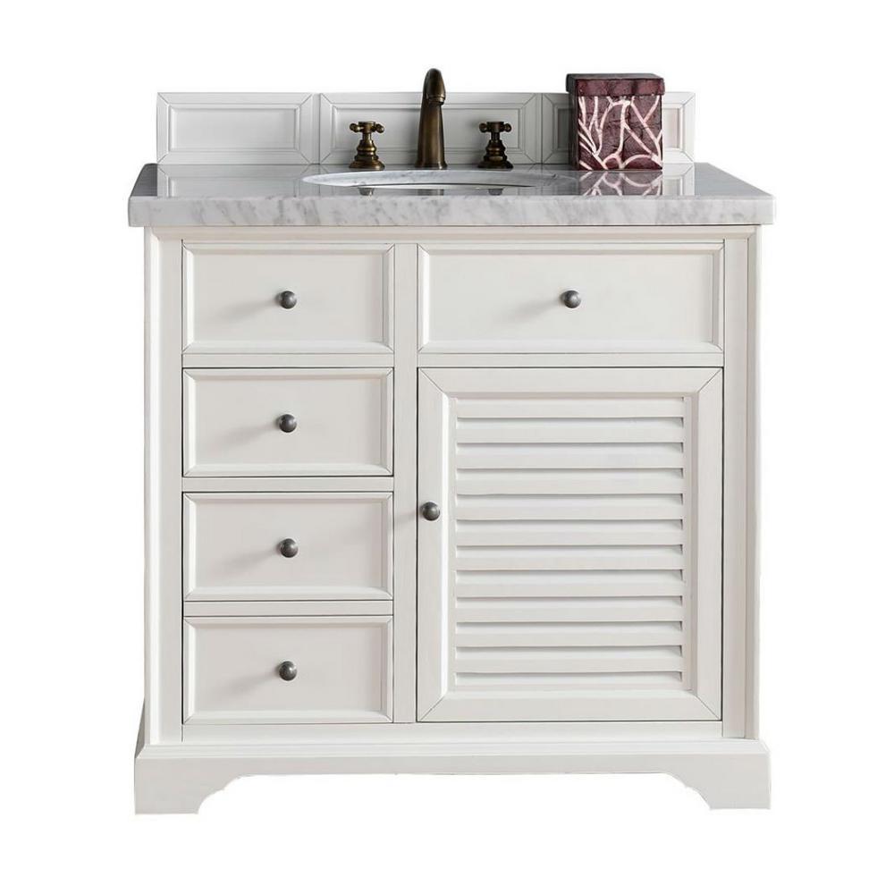 Savannah 36 in. W Single Vanity in Cottage White with Marble Vanity Top in Carrara White with White Basin