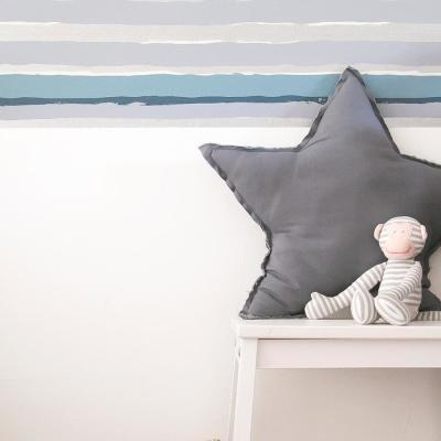 Kids Painted Stripe Blue and Metallic Silver Self-Adhesive Removable Borders and Stripes