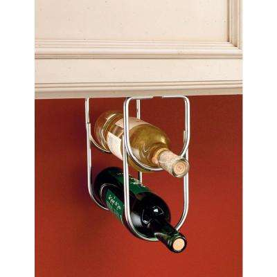 0.625 in. H x 4.25 in. W x 9 in. D Chrome Under Cabinet Double Wine Bottle Rack