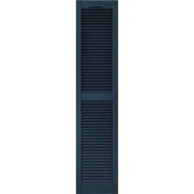 15 in. x 67 in. Louvered Vinyl Exterior Shutters Pair in #036 Classic Blue
