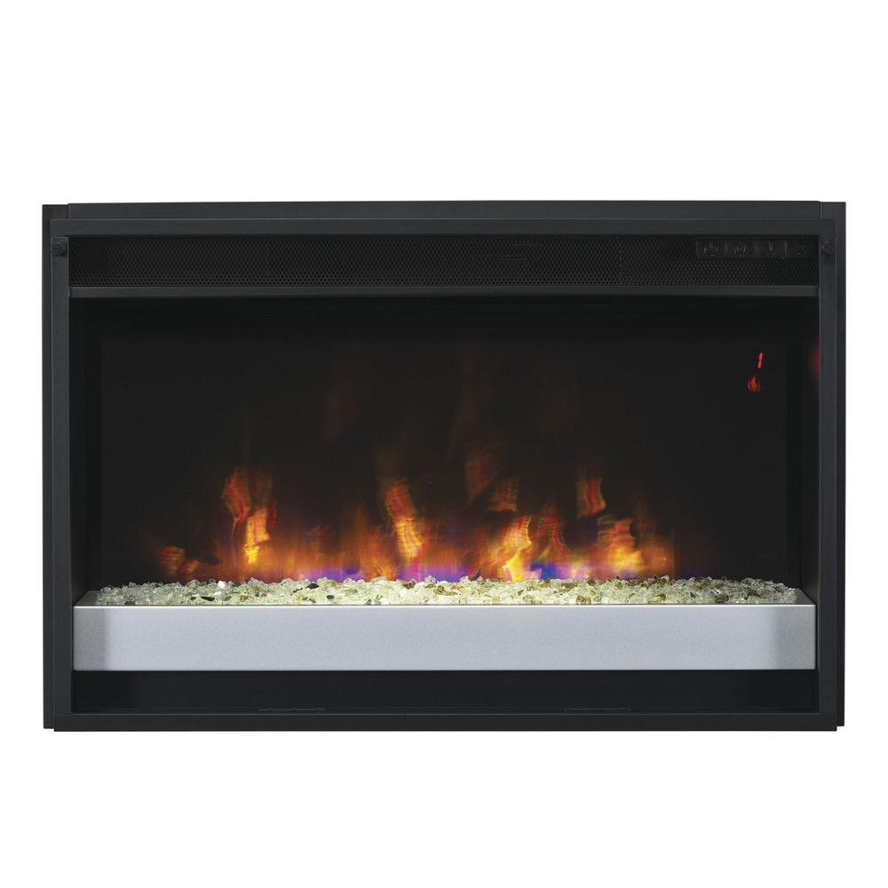Bring a warmth and ambiance of your fireplace all year long with this Contemporary Electric Fireplace Insert with Flush-Mount Trim Kit.
