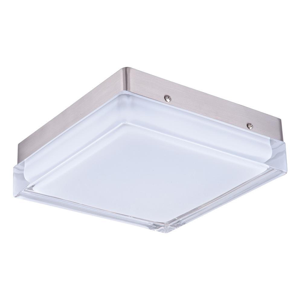 Illuminaire LED 1-Light Satin Nickel Flush Mount