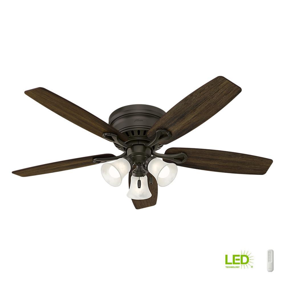 Hunter 52 Chatham New Bronze Ceiling Fan With Light At: Hunter Oakhurst 52 In. LED Indoor Low Profile New Bronze