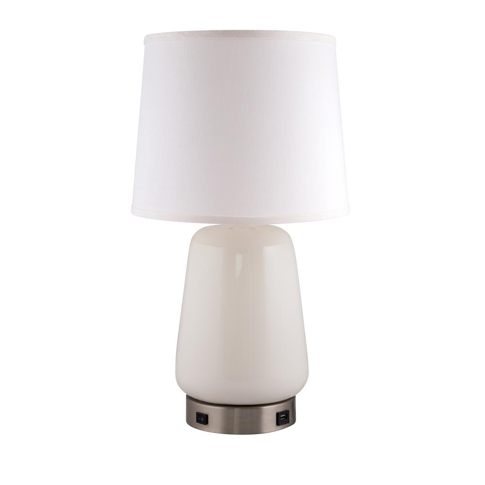 Gum Drop Lamp with USB Base 22.5 in. White Indoor Table
