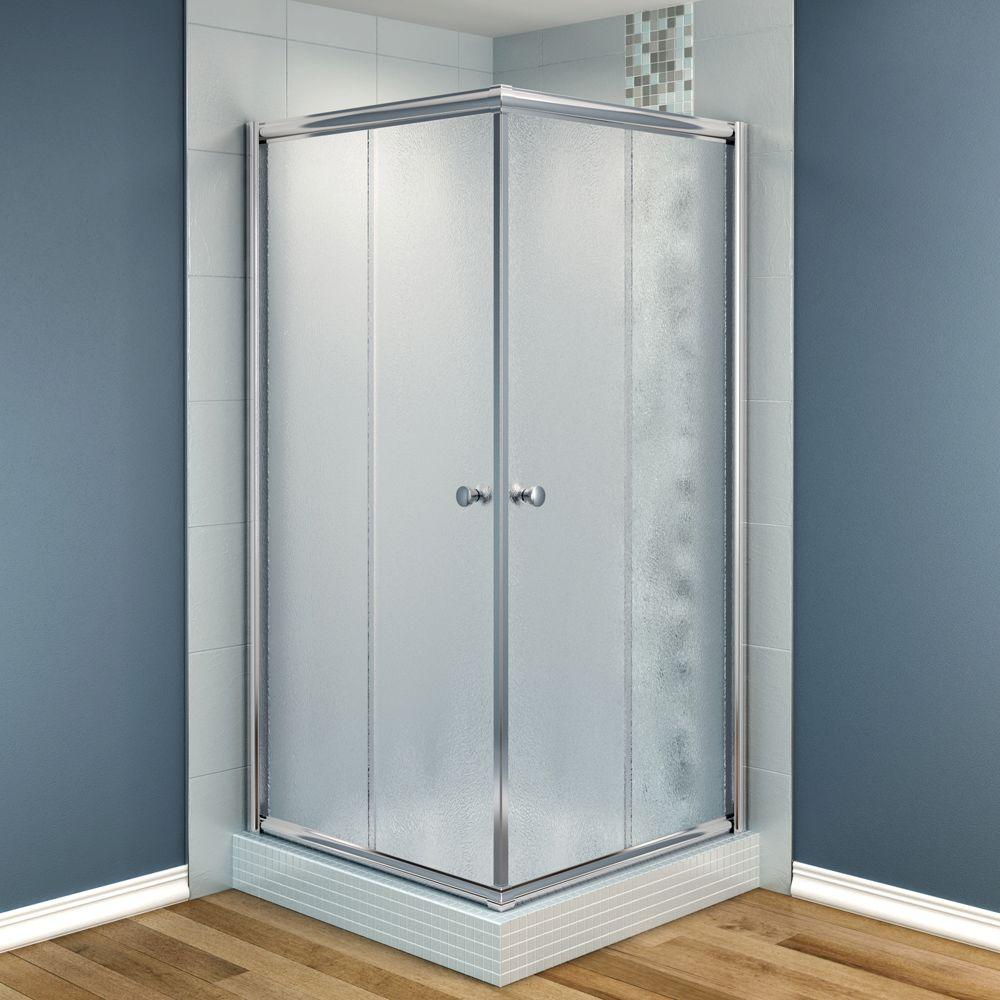 MAAX Centric 32 in. x 32 in. x 70 in. Frameless Corner Shower Door Frost Glass in Chrome Finish-DISCONTINUED